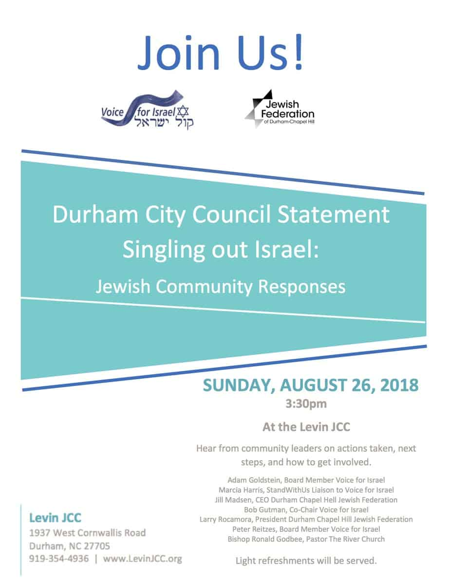 Israel, Durham City Council, Jewish Federation, V4I, Voice4Israel